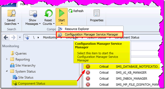 how to start sccm console