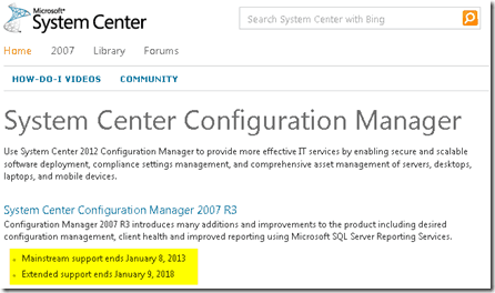 Do you Know The End of Support Date for SCCM 2007?