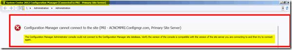 Fix SCCM ConfigMgr Admin Console Version Compatibility Issue