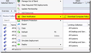 Client Notification option in SCCM to Download Computer Policies ASAP ConfigMgr