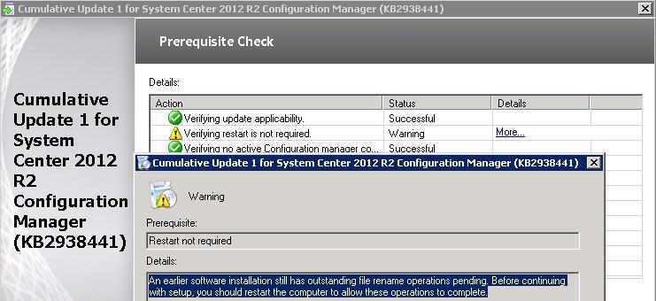 How to Fix SCCM ConfigMgr CU 1 Installation  rename operations pending Error