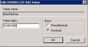 ConfigMgr SCCM How to change Maximum Log File Size