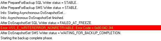How to Resolve SCCM Backup Failed At Freeze Issue 1