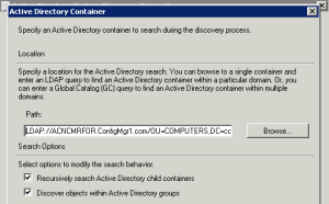 ConfigMgr SCCM Untrusted Forest AD System Discovery Issue 2