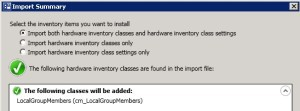 SCCM 2012 Hardware Inventory Classes