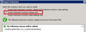 SCCM 2012 Hardware Inventory Classes Only