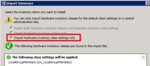SCCM 2012 Hardware Inventory Classes Settings at Primary 1