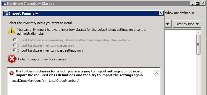 SCCM 2012 MOF import Hardware Inventory Issue