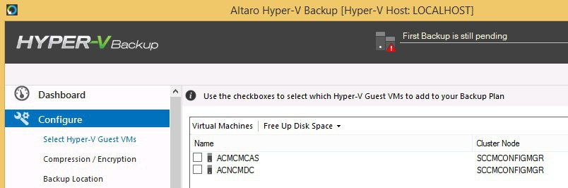 Hyper V backup Configure