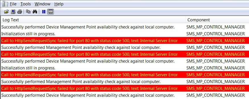 SCCM MP Internal Server Error ISS Call to