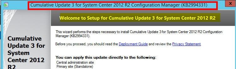 SCCM 2012 R2 CU3