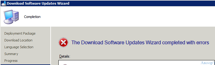 SCCM Software Update Patch Package Download Failed with Error 403