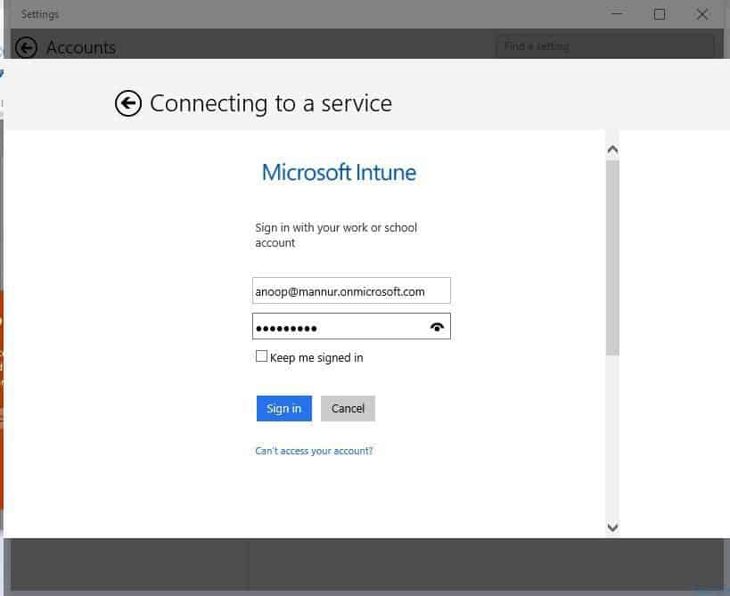 Connect To Cloud Option in Windows 10-6