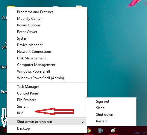 Windows 10 - Start Menu Button- Right Click Option-3 Where is the RUN option in Windows 10