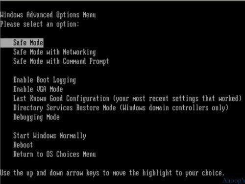 command line to restart windows xp in safe mode with networking