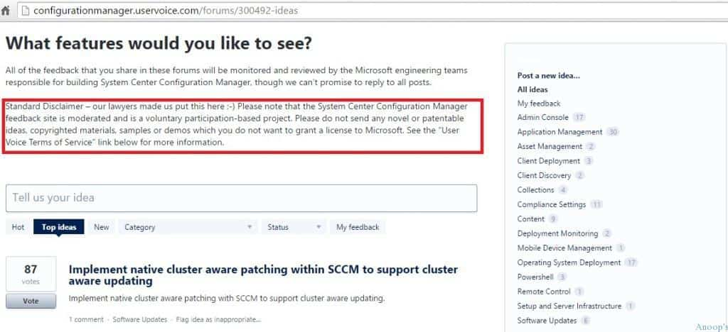 How to Provide Feedback for SCCM ConfigMgr Intune via User Voice Portal