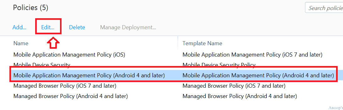 how to deploy applications and mam policies to mobile devices using