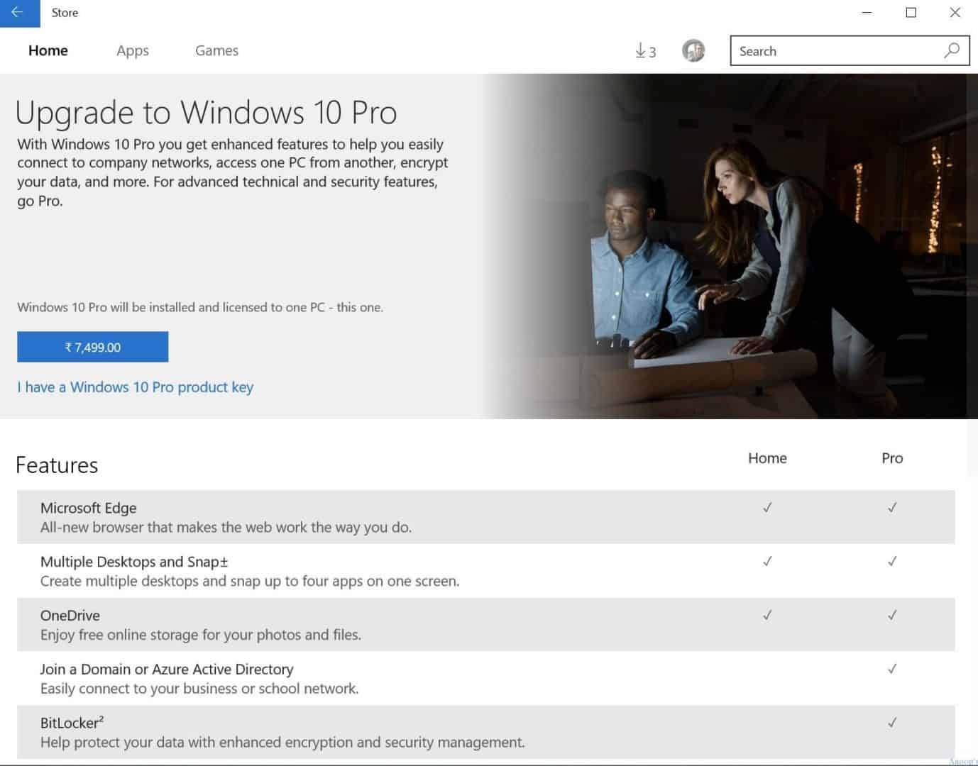 windows 10 home vs pro for business