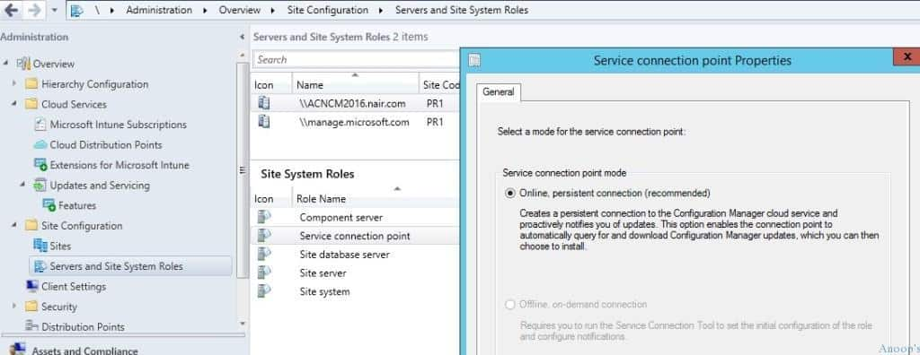 SCCM vNext TP3 Service Connection Pointer