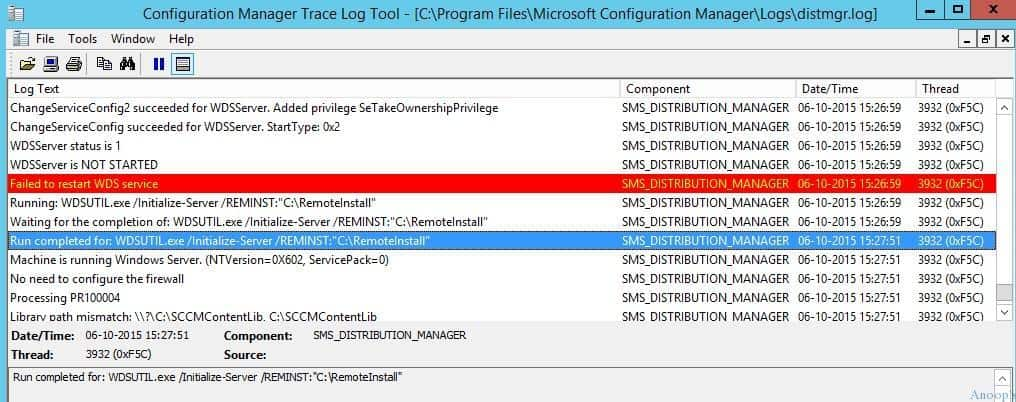 Fix SCCM PXE Related WDS Service is not getting started on Server 2012 R2 ConfigMgr Configuration Manager