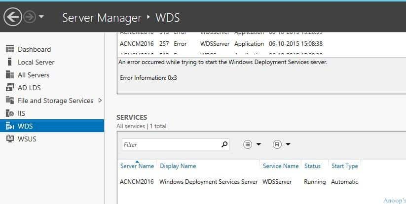 SCCM PXE Related WDS Service is not getting started on