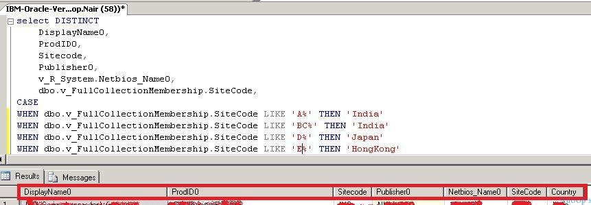 SQL Query to Findout the Machines with IBM or Oracle Related applications installed Along with Location and Country Details 3