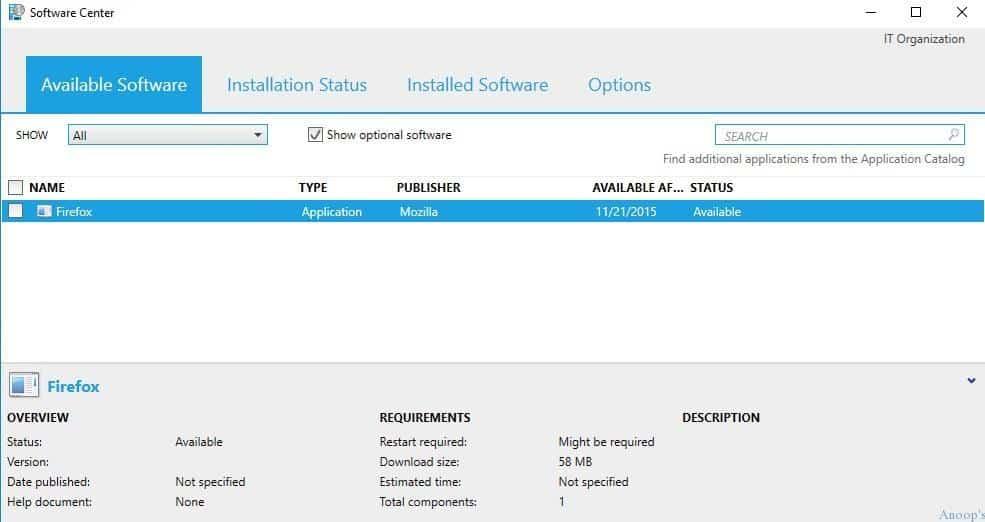 SCCM-ConfigMgr TP4-1511-New Software Center-1