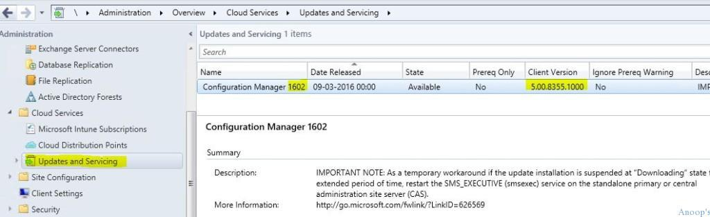 How to Upgrade SCCM ConfigMgr Current Branch to Next Version 1511 to 1602