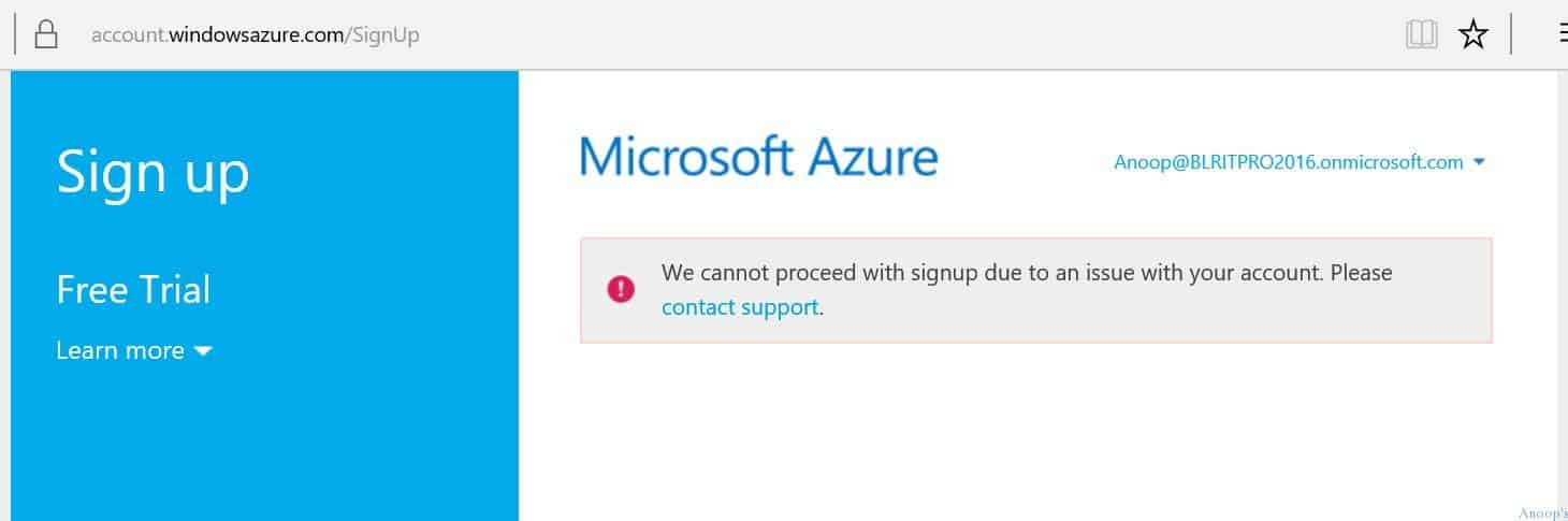 Fix Azure AD Subscription Error We cannot proceed with Signup Due to an Issue with Your Account 1