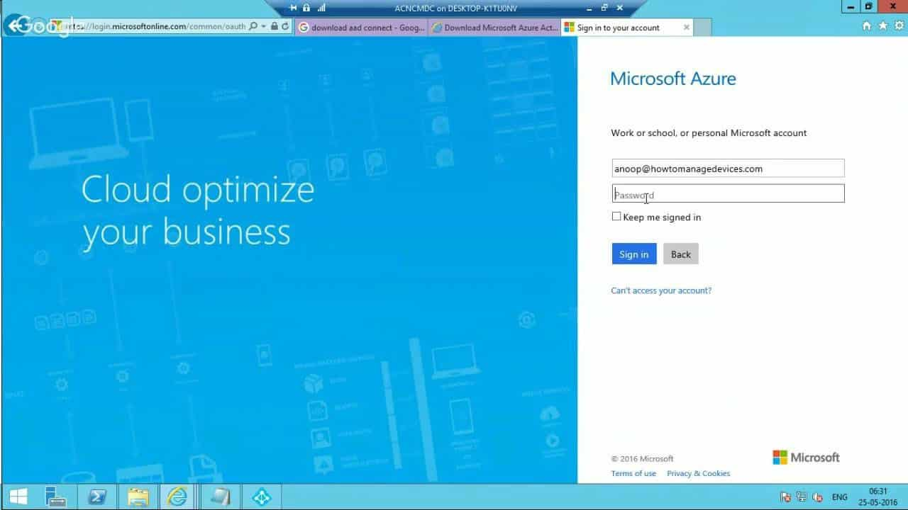 Video Tutorial How to Sync On Prem AD Users with Azure AD 1
