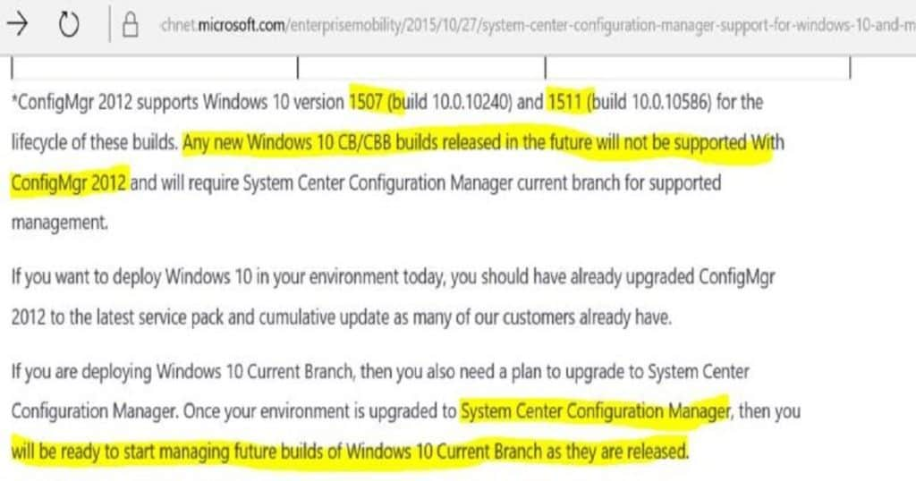 SCCM 2007 2012 Support for Windows 10 Versions Current Branch Configuration Manager 2012