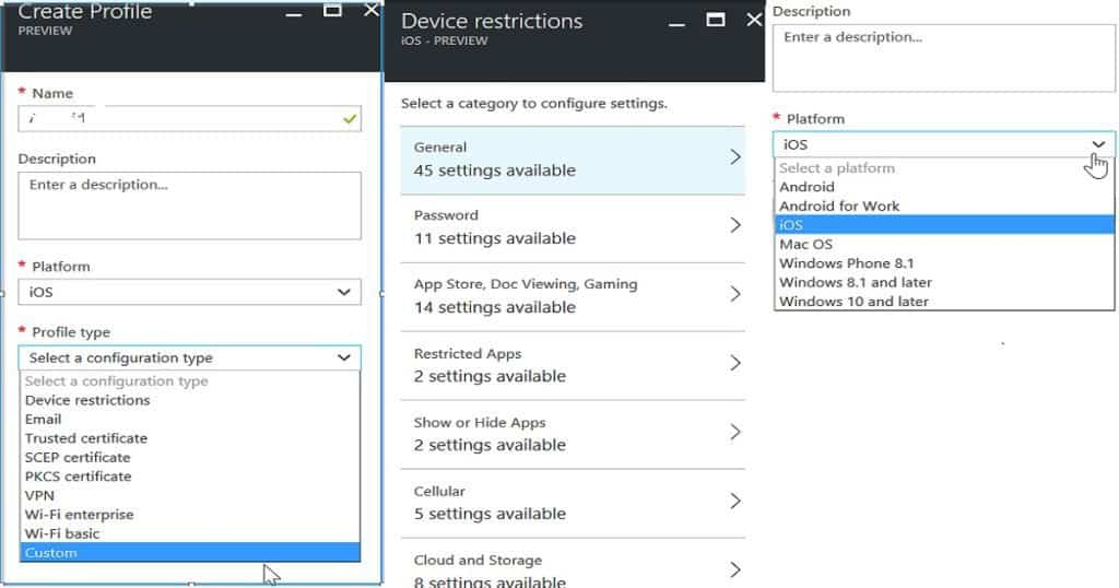 Quick Overview Comparison between Intune Azure and Silverlight Portal 4