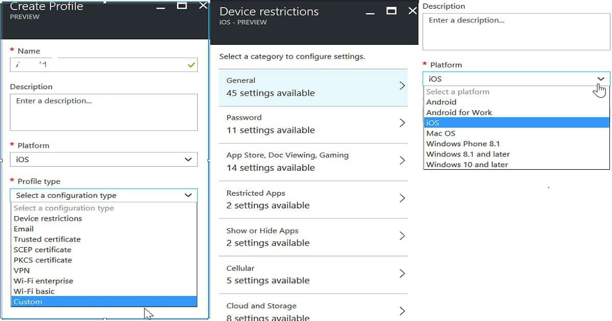 Quick Overview Comparison between Intune Azure and