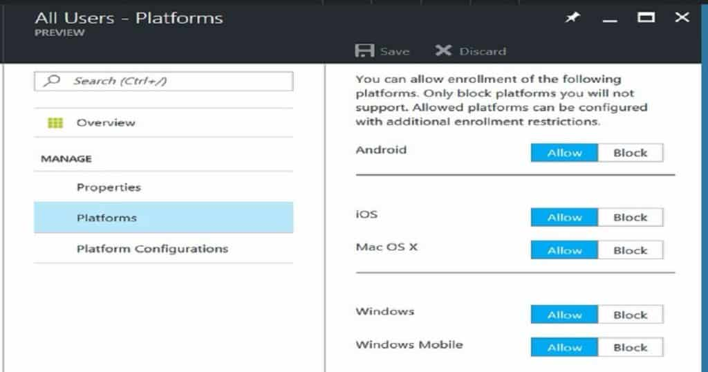 Quick Overview Comparison between Intune Azure and Silverlight Portal 6