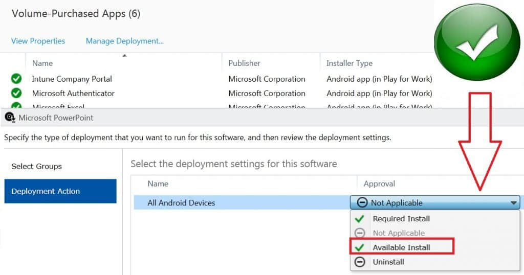 Why Available Action is Disabled from Android for Work App Deployment in Intune 2