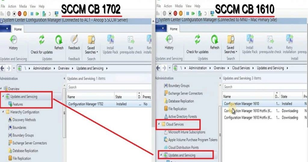 Feature Comparison Video Between SCCM ConfigMgr CB 1610 and 1702 2