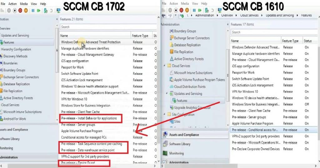 Feature Comparison Video Between SCCM ConfigMgr CB 1610 and 1702 3