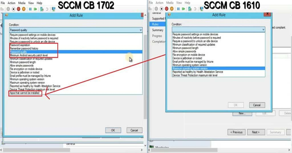 Feature Comparison Video Between SCCM ConfigMgr CB 1610 and 1702 5