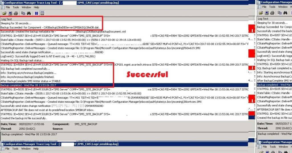 SCCM ConfigMgr Backup Failed with Error SQL Backup Failed Error Code 2 3