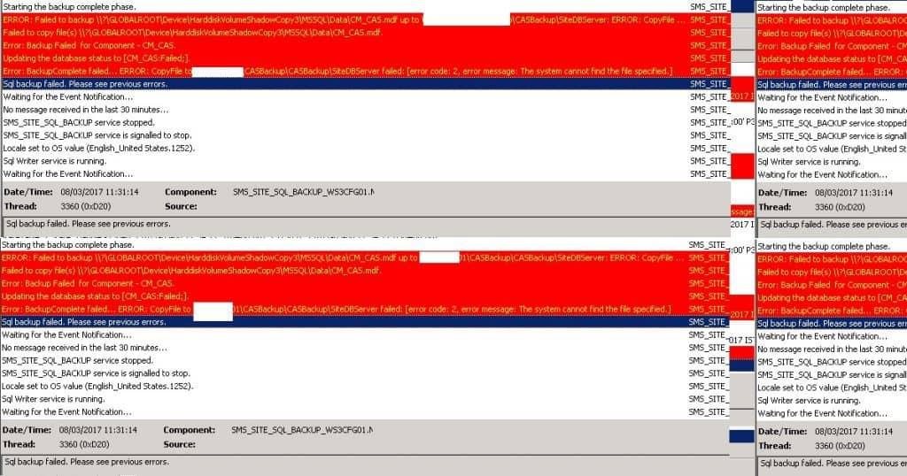SCCM ConfigMgr Backup Failed with Error SQL Backup Failed Error Code 2 1