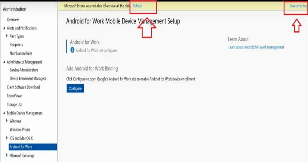 How to Resolve Intune Android for Work Configuration Refresh Error 1
