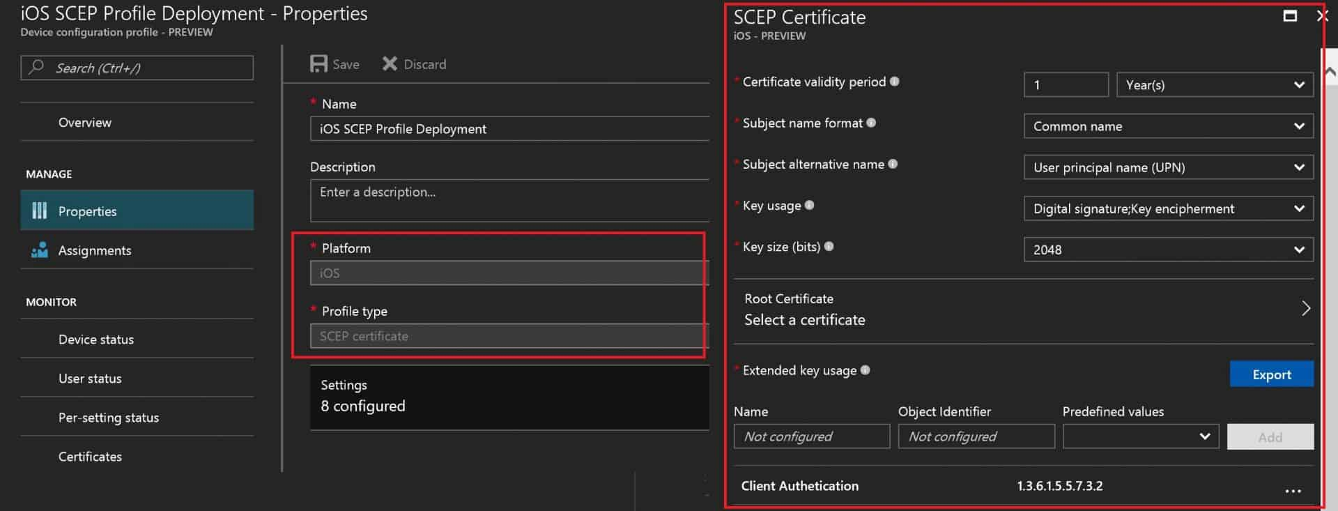 Intune - Create - Deploy SCEP Certificate to iOS Devices