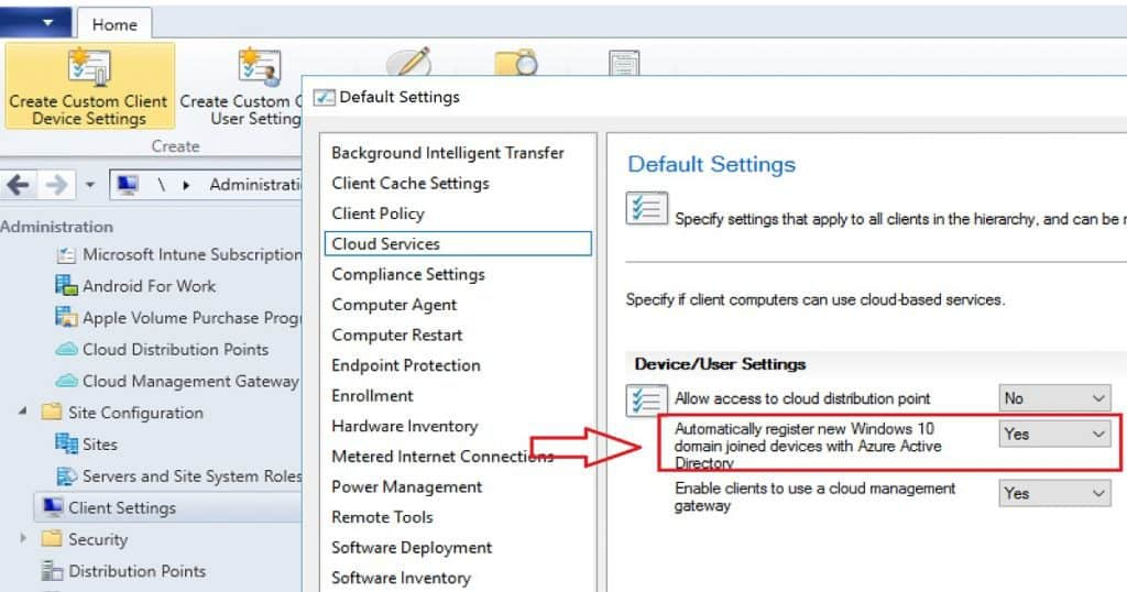 Register SCCM CB client with AAD via Client Settings