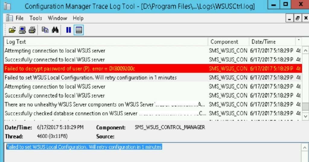 SCCM Sever in-place OS Upgrade_WSUS_SYNC_Connection-Error1