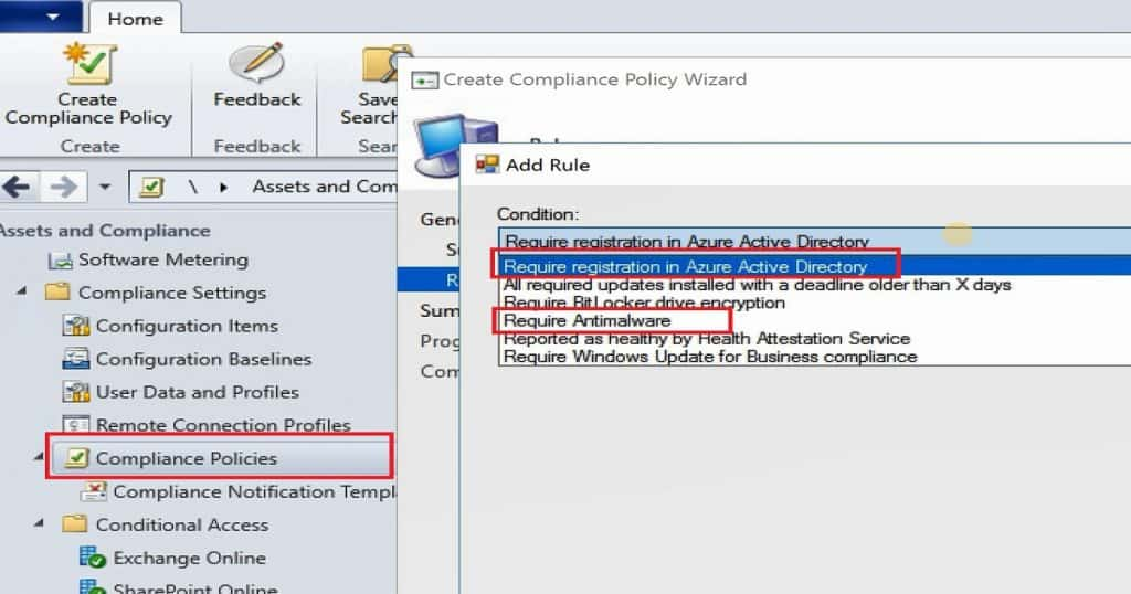 SCCM compliance policy AAD Registration and Antimalware