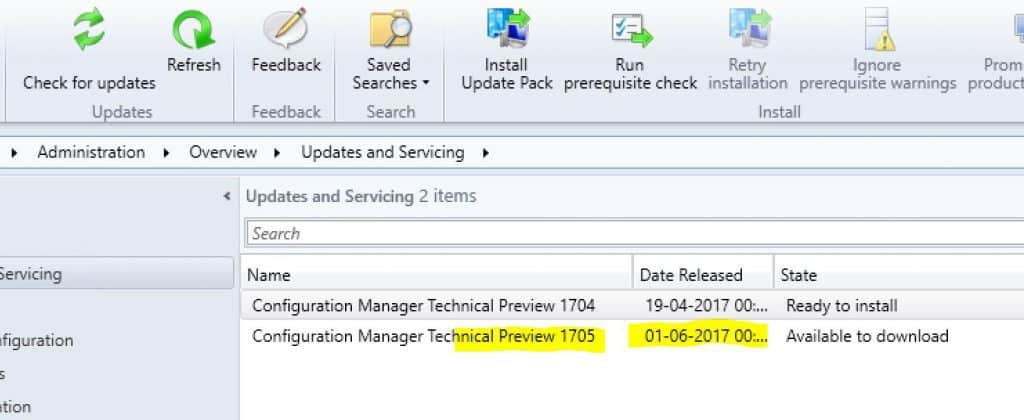 SCCM ConfigMgr CB TP 1705 Version