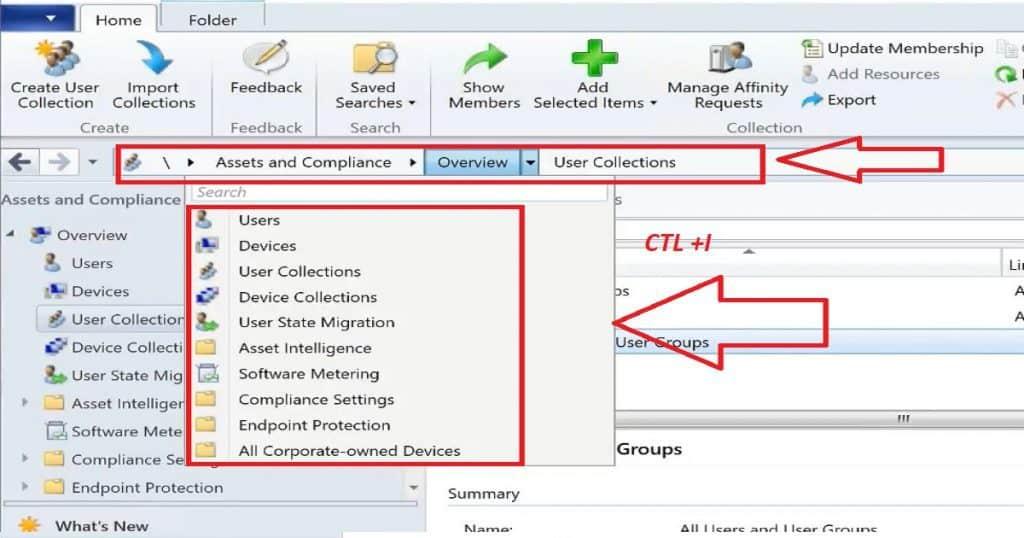 SCCM Console Keyboard Shortcuts_CTR + I
