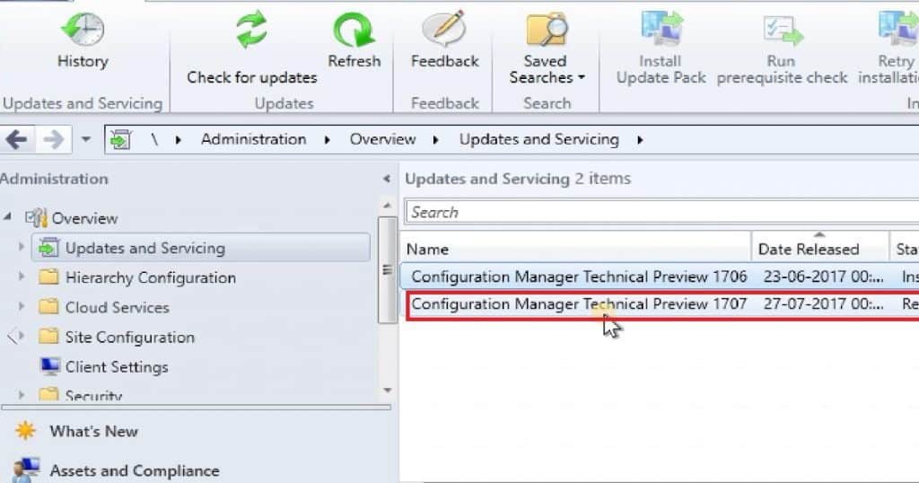 SCCM ConfigMgr CB 1707 Preview Upgrade Video Tutorial