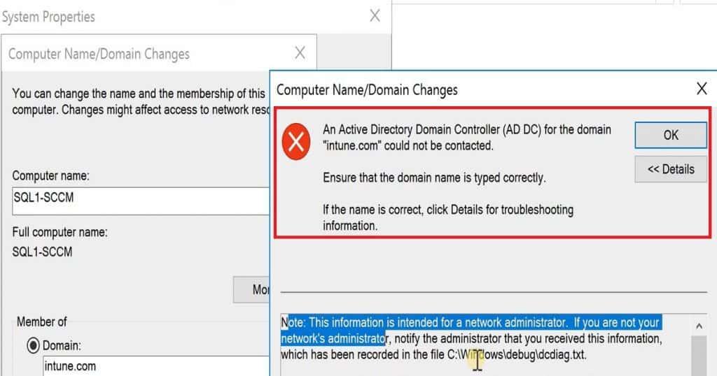 Server 2016 Domain Join Error
