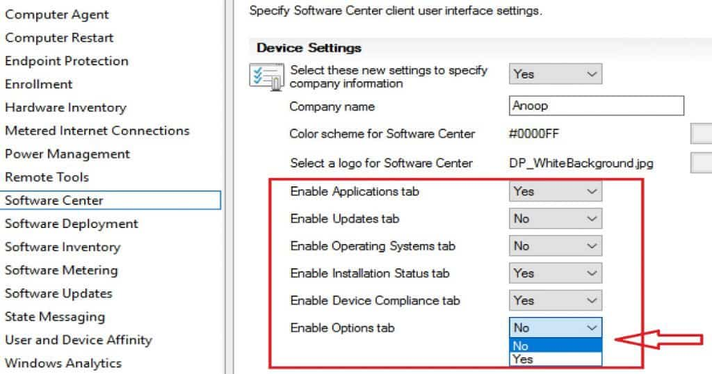 SCCM CB How to Hide Tabs in New Software Center